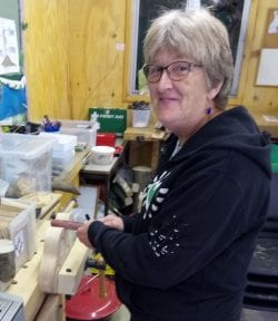 Julie in the workshop